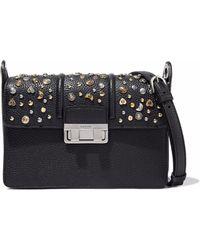 Lanvin - Studded Pebbled Leather Shoulder Bag - Lyst