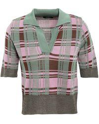 Goen.J - Checked Jacquard-knit Polo Shirt Grey Green - Lyst