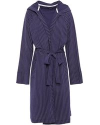 DKNY Pinstriped Cotton-blend Jersey Hooded Robe Navy - Blue