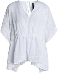 W118 by Walter Baker - Broderie Anglaise-trimmed Wrap-effect Cotton Top - Lyst