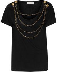 Balmain - Embellished Cotton-jersey Top - Lyst