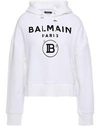 Balmain Flocked Cotton-fleece Hoodie White