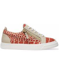 Giuseppe Zanotti - London Croc-effect Leather Sneakers - Lyst