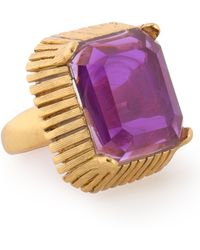 Elizabeth Cole - Woman 24-karat Gold-plated Stone Ring Purple Size Onesize - Lyst