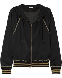 Tomas Maier Campus Metallic Jersey Hooded Top Black
