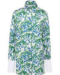 Victoria, Victoria Beckham Printed Satin-twill Shirt - White