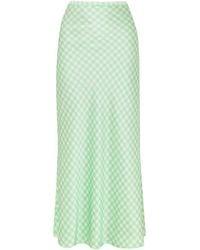 BERNADETTE Florence Gingham Silk-satin Maxi Skirt Light Green