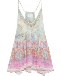 Camilla Crystal-embellished Layered Printed Silk-georgette Camisole Baby Pink