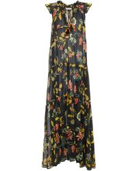 Anjuna Ludovica Gathered Floral-print Cotton-voile Maxi Dress - Black