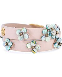 Tory Burch Gold-tone, Crystal, Sequin And Leather Bracelet Blush