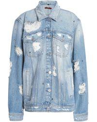 7 For All Mankind - Studded Distressed Denim Jacket Mid Denim - Lyst