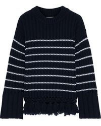 Each x Other Striped Ribbed Wool Jumper - Blue