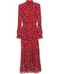 Saloni Isabel Gathered Printed Silk-chiffon Midi Dress