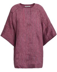 Acne Studios Striped Linen-blend Tunic - Red