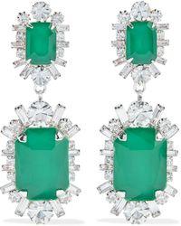 Elizabeth Cole Piper Rhodium-plated Swarovski Crystal Earrings - Green