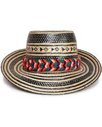 Yosuzi Pompom-embellished Woven Straw Sunhat Black