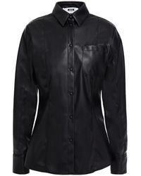 MSGM Faux Leather Shirt - Black