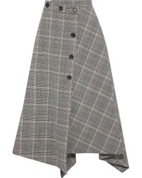 Sonia Rykiel - Asymmetric Houndstooth Wool-blend Midi Skirt - Lyst