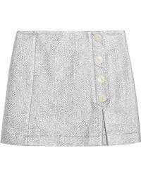Maison Kitsuné - Metallic Cotton-blend Cloqué Mini Skirt - Lyst