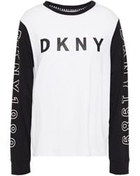 DKNY Printed Cotton-blend Jersey Pyjama Top White