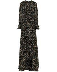 Mikael Aghal Ruffled Floral-print Georgette Maxi Dress Black