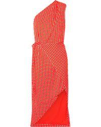 Preen By Thornton Bregazzi - Klauber One-shoulder Checked Twill Dress - Lyst