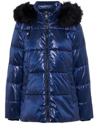 DKNY Faux Fur-trimmed Quilted Glossed-shell Hooded Jacket - Blue