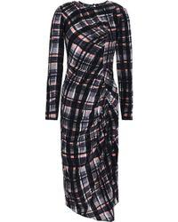 Markus Lupfer Asymmetric Ruched Checked Silk Midi Dress Black