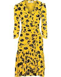 Diane von Furstenberg Paloma Ruffled Mesh Wrap Dress - Yellow