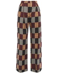 House of Holland Checked Jacquard Wide-leg Trousers - Multicolour