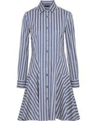 Derek Lam Striped Cotton-jacquard Shirt Dress Azure - Blue