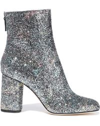 M Missoni Glittered Leather Ankle Boots Silver - Metallic