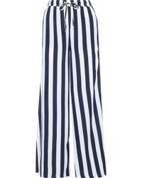 Onia Chloe Striped Poplin Wide-leg Pants Navy - Blue