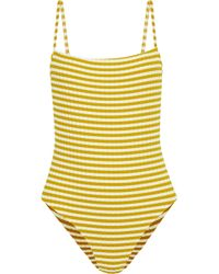 Solid & Striped The Chelsea Striped Ribbed Swimsuit Mustard - Yellow