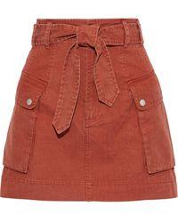 Marissa Webb Belle Belted Cotton Mini Skirt Tan - Multicolor