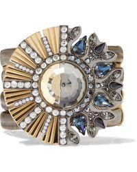 Lanvin Gold-tone, Gunmetal-tone, Grosgrain And Crystal Bracelet Gold - Metallic
