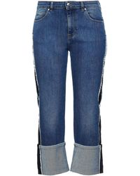 RED Valentino Cropped Frayed High-rise Wide-leg Jeans - Blue