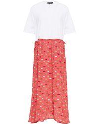 Markus Lupfer Hazel Cotton-jersey And Printed Crepe Midi Dress - White