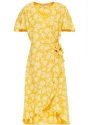 Joie Amelian Ruffled Printed Crepe De Chine Mini Wrap Dress - Yellow