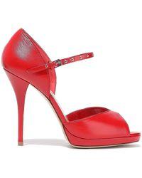 Valentino Garavani Love Latch Leather Platform Pumps Red