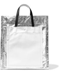 1563a55853a1 3.1 Phillip Lim - Woman Accordion Smooth And Metallic Cracked-leather Tote  Silver - Lyst