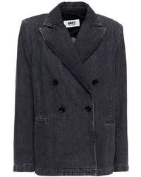 MM6 by Maison Martin Margiela Doppelreihiger blazer aus denim - Grau