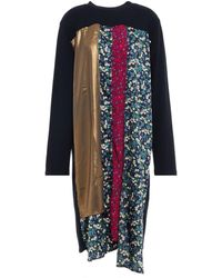 CLU Patchwork-effect Metallic Floral-print French Cotton-terry Dress - Multicolour