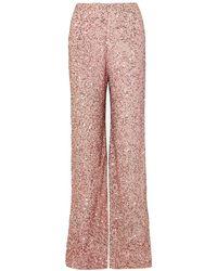 Jenny Packham Sequined Chiffon Wide-leg Pants - Pink