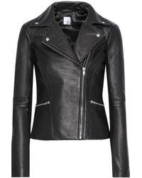 Iris & Ink Lovisa Ribbed Knit-paneled Leather Biker Jacket Black
