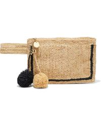 Zimmermann Raffia Stripe Pompom-embellished Woven Raffia Belt Bag Neutral - Multicolour