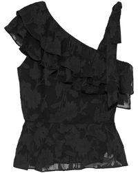 Rachel Zoe Katerina Ruffled Fil Coupé Silk And Cotton-blend Top - Black