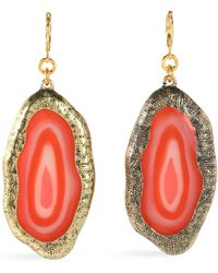 Kenneth Jay Lane - Hammered Gold-tone Stone Earrings - Lyst