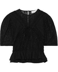 IRO Steela Crochet-trimmed Cotton-blend Lace Top - Black