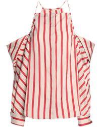 Christopher Esber - Cold-shoulder Striped Woven Top - Lyst